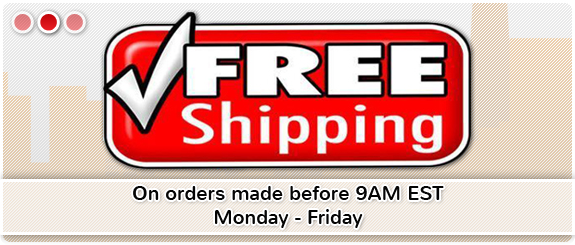 Free shipping on orders made before 9AM EST Monday - Friday